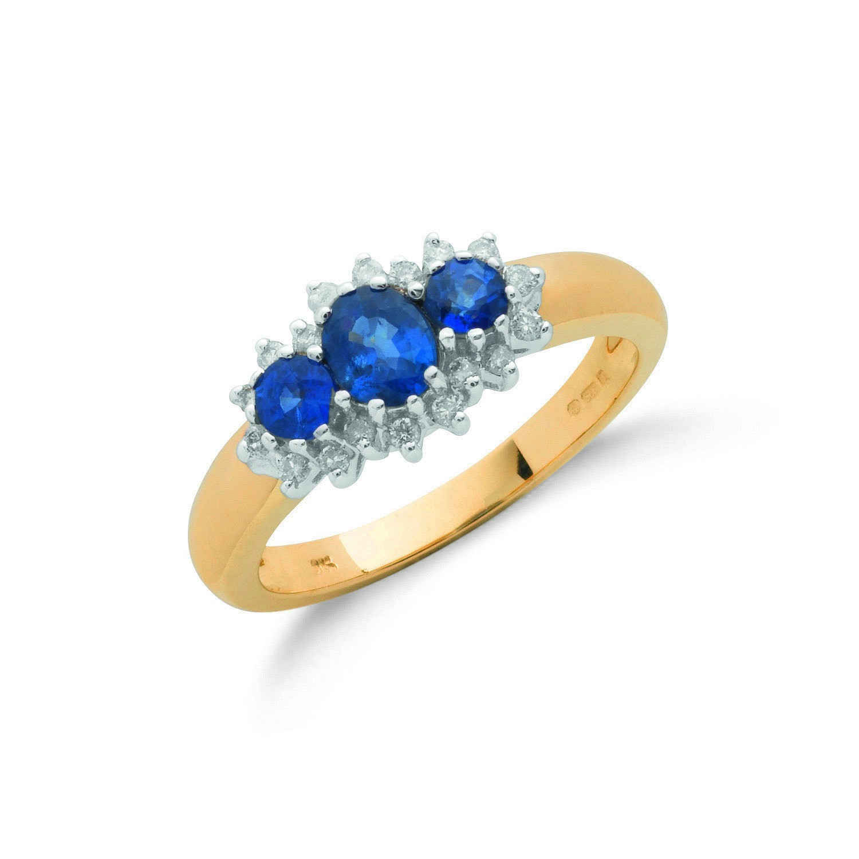 9ct Yellow Gold 0.18ct Diamond & 0.90ct Sapphire Cluster Ring