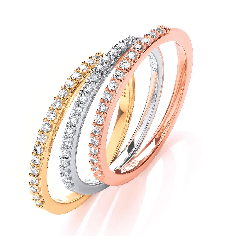 9ct W,Y & R/G 0.33ct Diamond Half Eternity Ring Set
