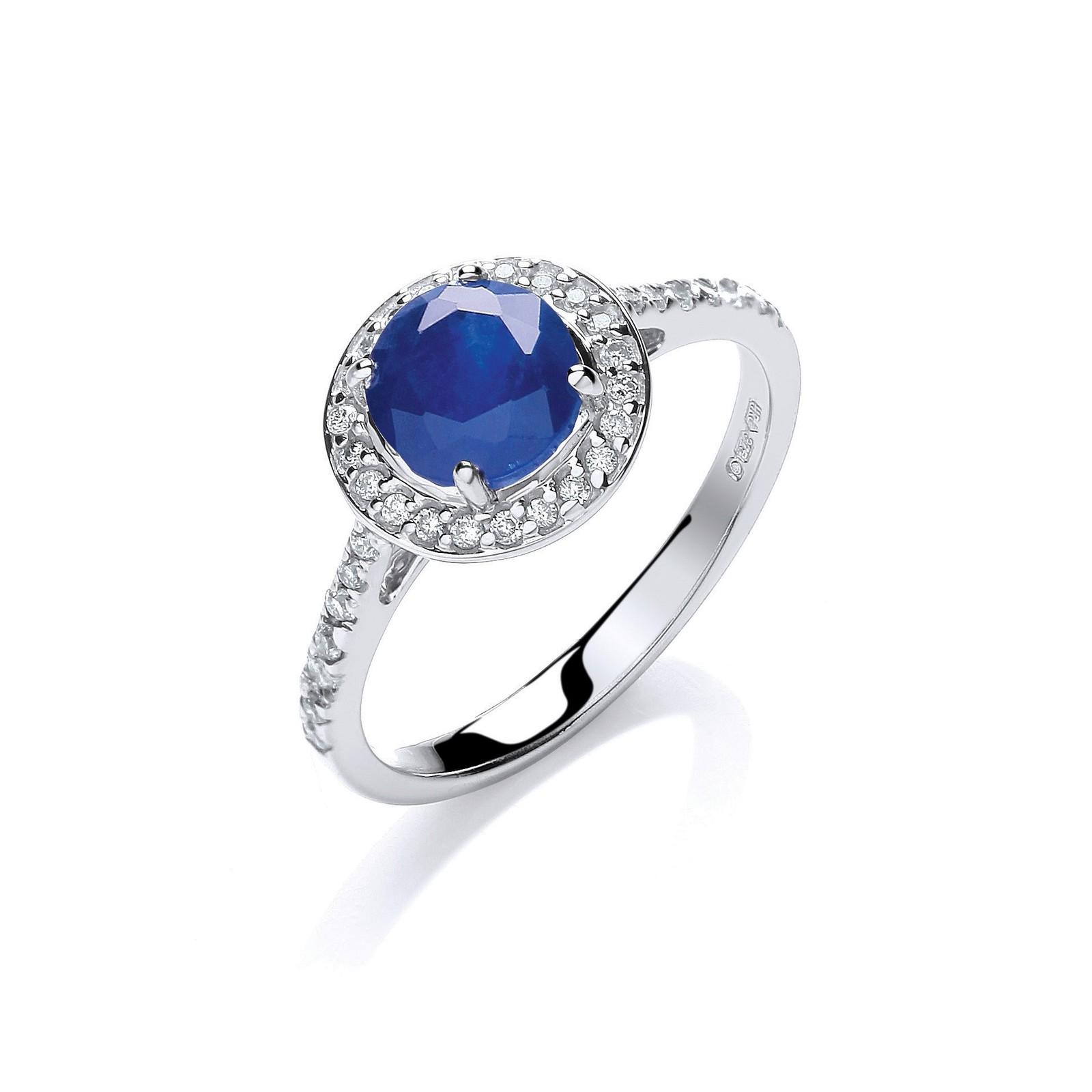 9ct W/G 0.20ct Diamond, 0.65ct 5mm Sapphire Ring
