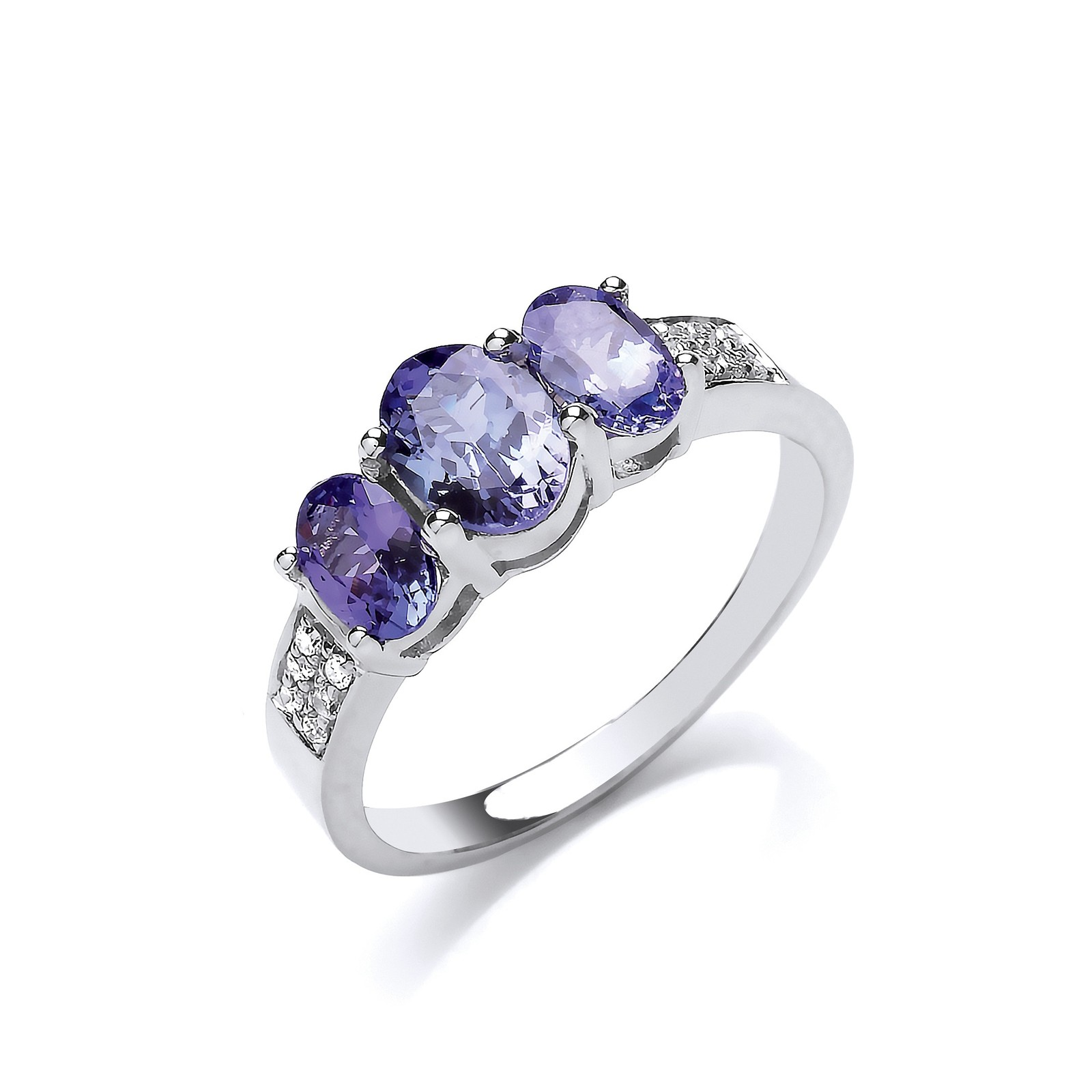 9ct W/G 0.06ct Diamond & 1.03ct Tanzanite Ring