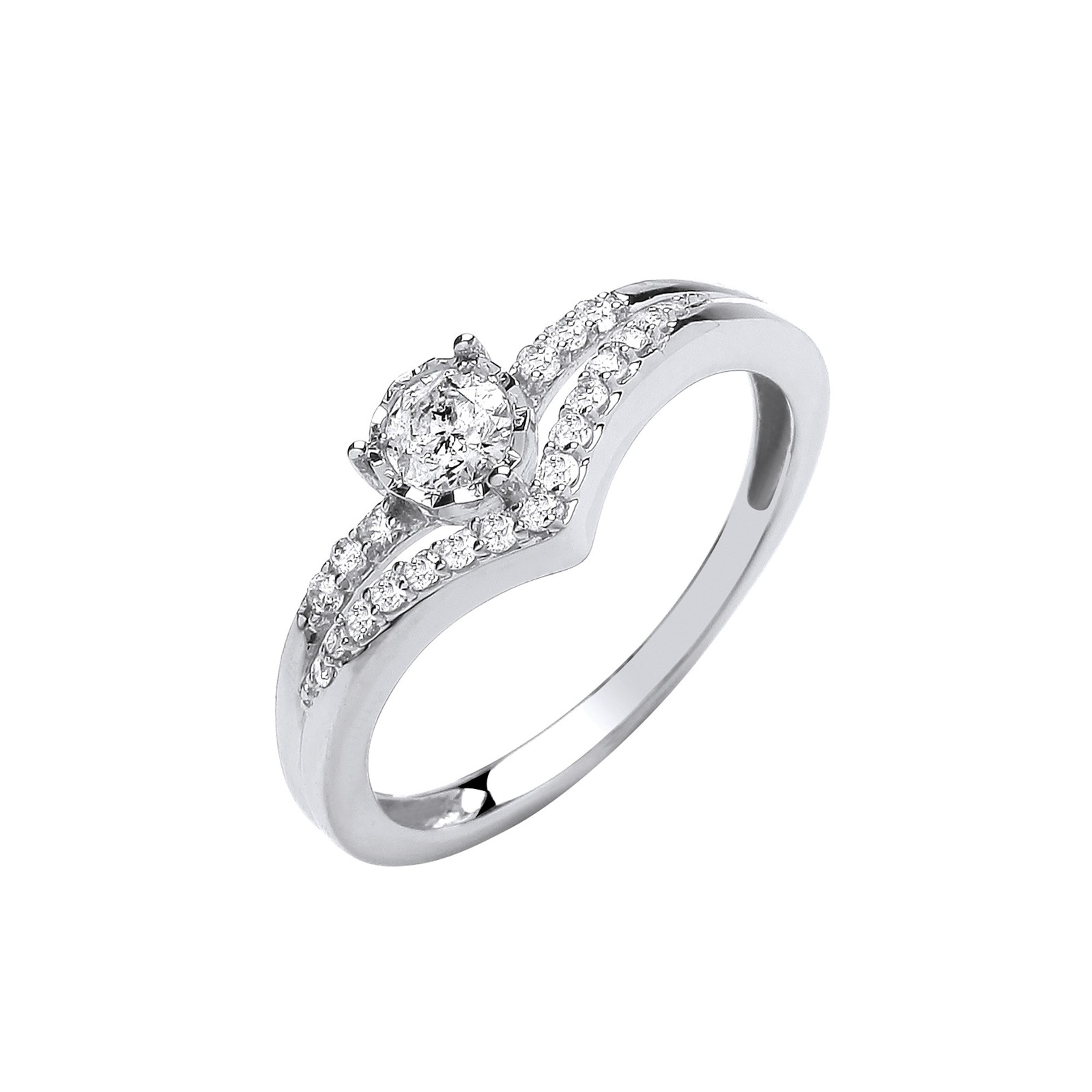 9ct White gold 0.33st Split shank engagement ring