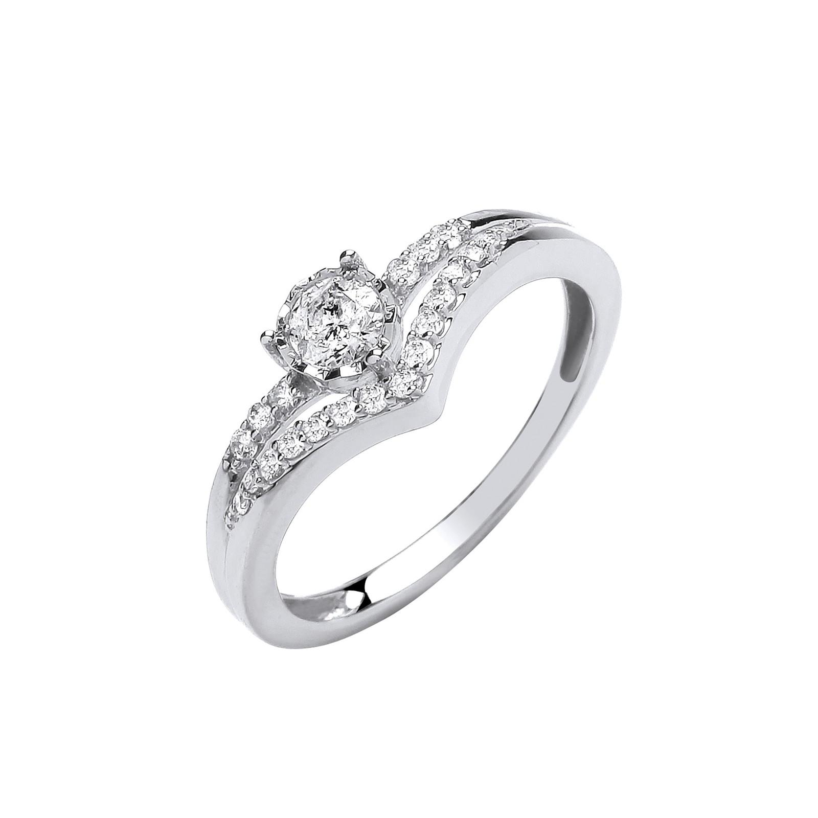 9ct White gold 0.33st Split shank engagement ring