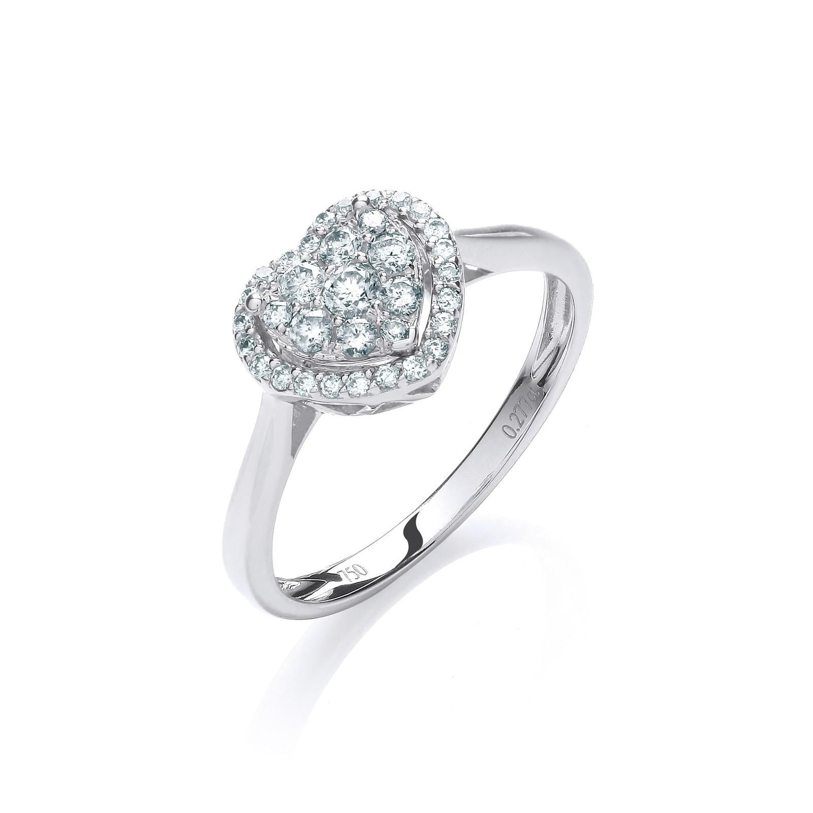 18ct White Gold 0.25ct Diamond Heart Ring