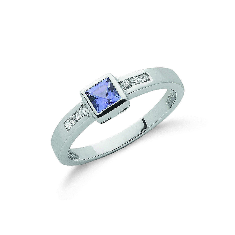18ct White Gold 0.10ct Diamond & 0.40ct Tanzanite Ring