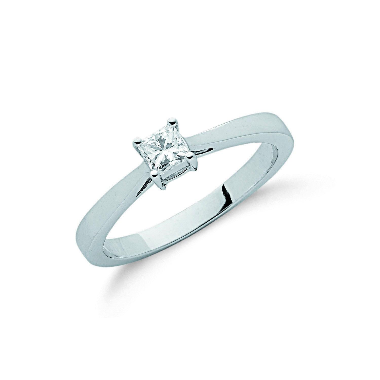 9ct W/G 0.25ct Princess Cut Diamond Engagement Ring