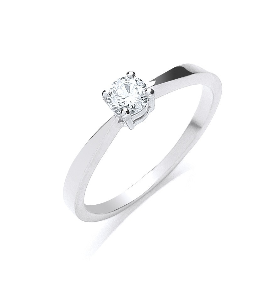 Platinum 0.25ct G/H-Si Diamond Engagement Ring