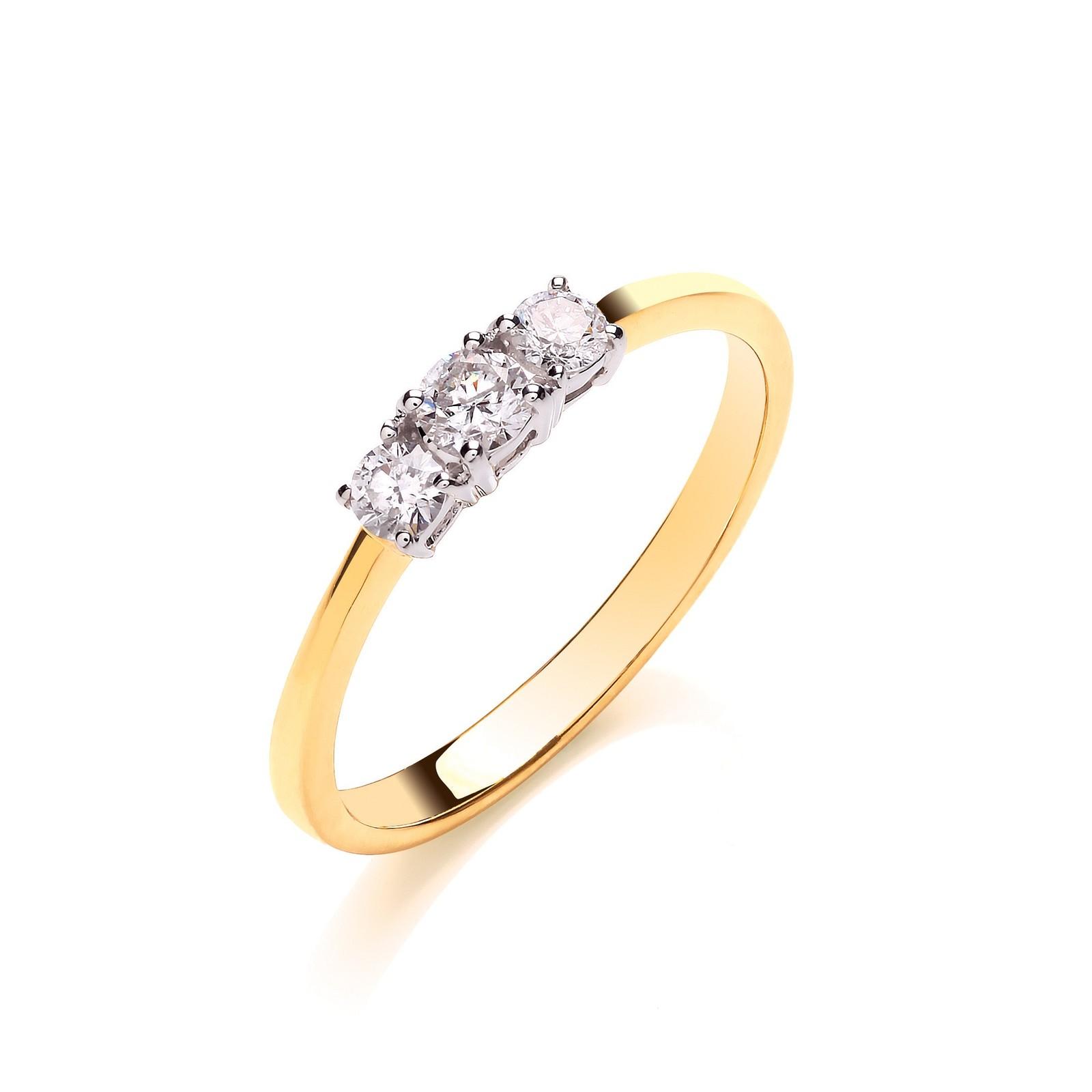 18ct Yellow Gold 0.33ctw Diamond Trilogy Ring
