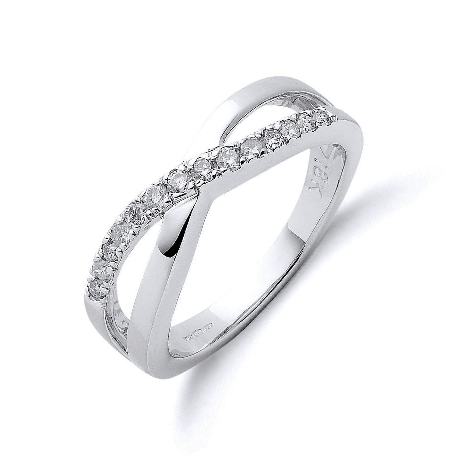 18ct White Gold 0.20ct Crossover Diamond Ring