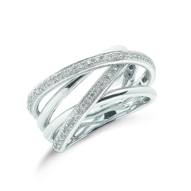 9ct W/G 0.25ct Diamond Crossover Ring