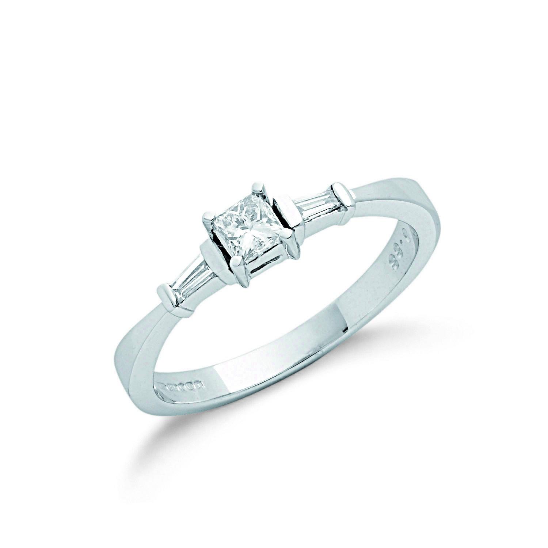 9ct W/G 0.33ct Princess Cut & Baguette Diamond Engagement Ring