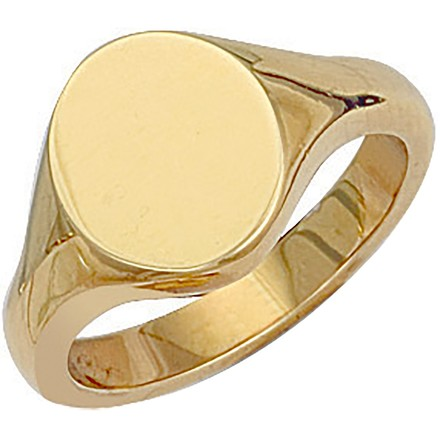 Y/G Oval Plain Signet Ring