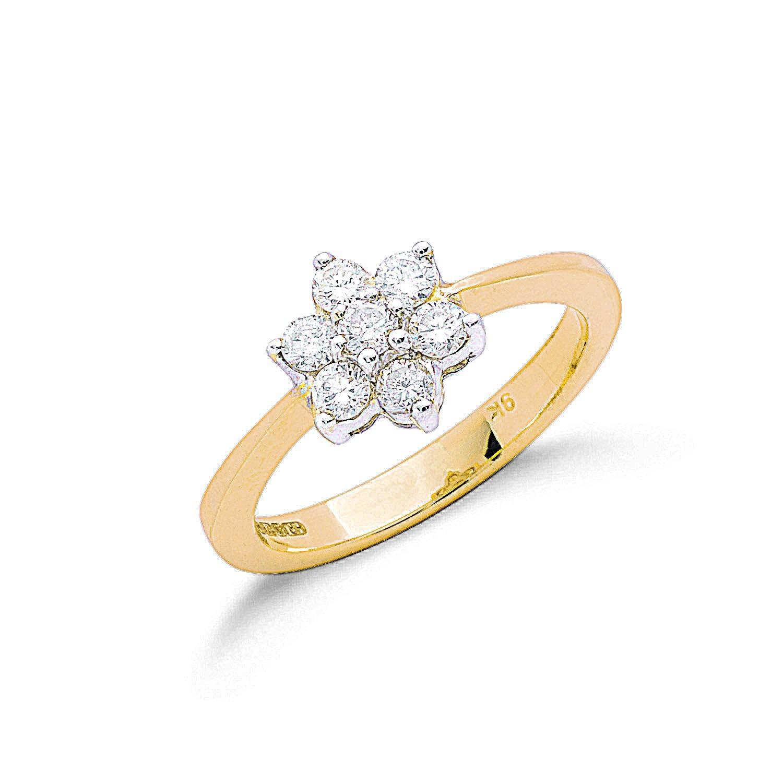 9ct Y/G 0.50ctw Diamond Flower / Cluster Ring