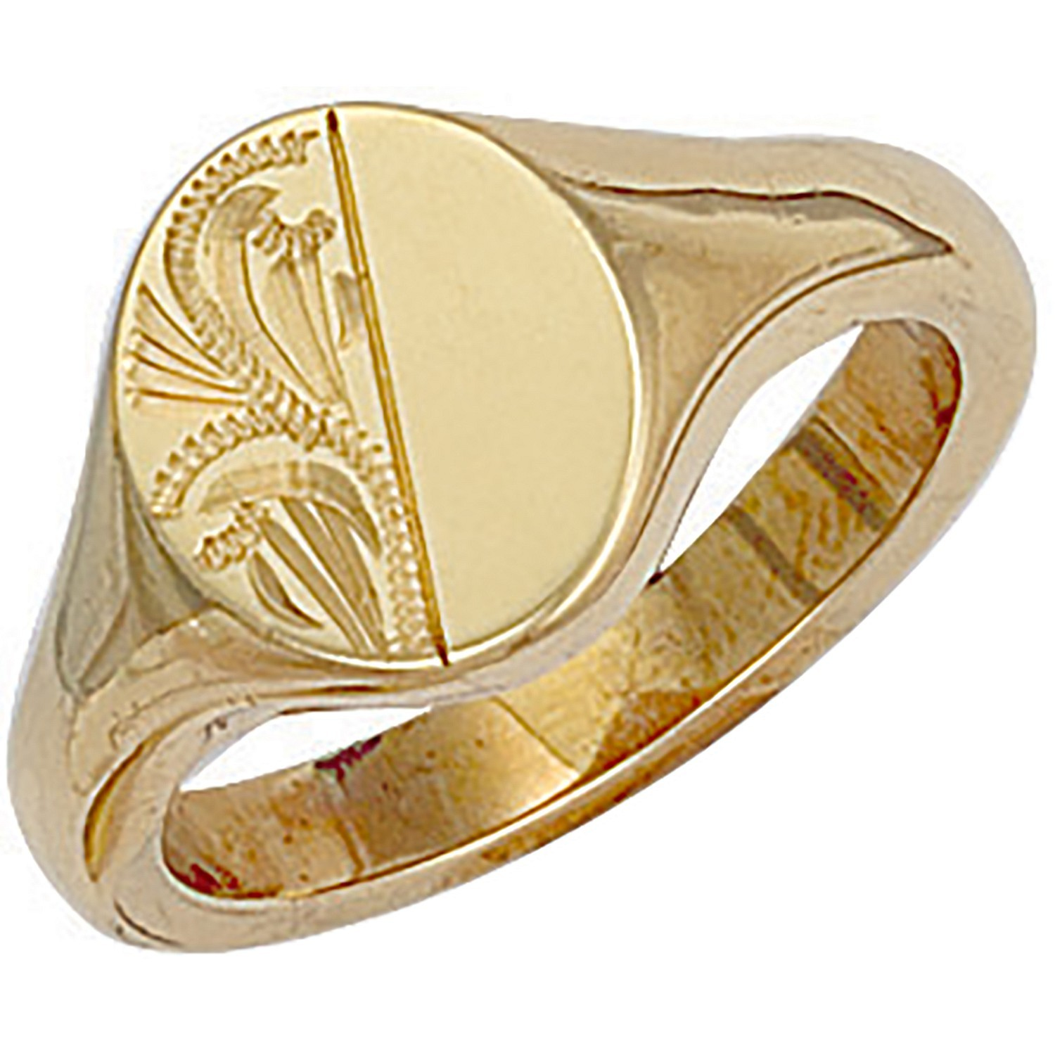 Y/G Engraved Oval Signet Ring