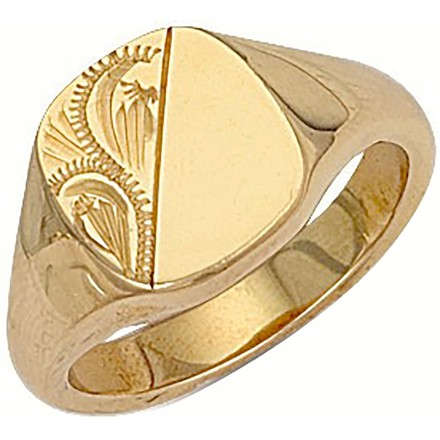 Selling: Y/G Cushion Engraved Signet Ring