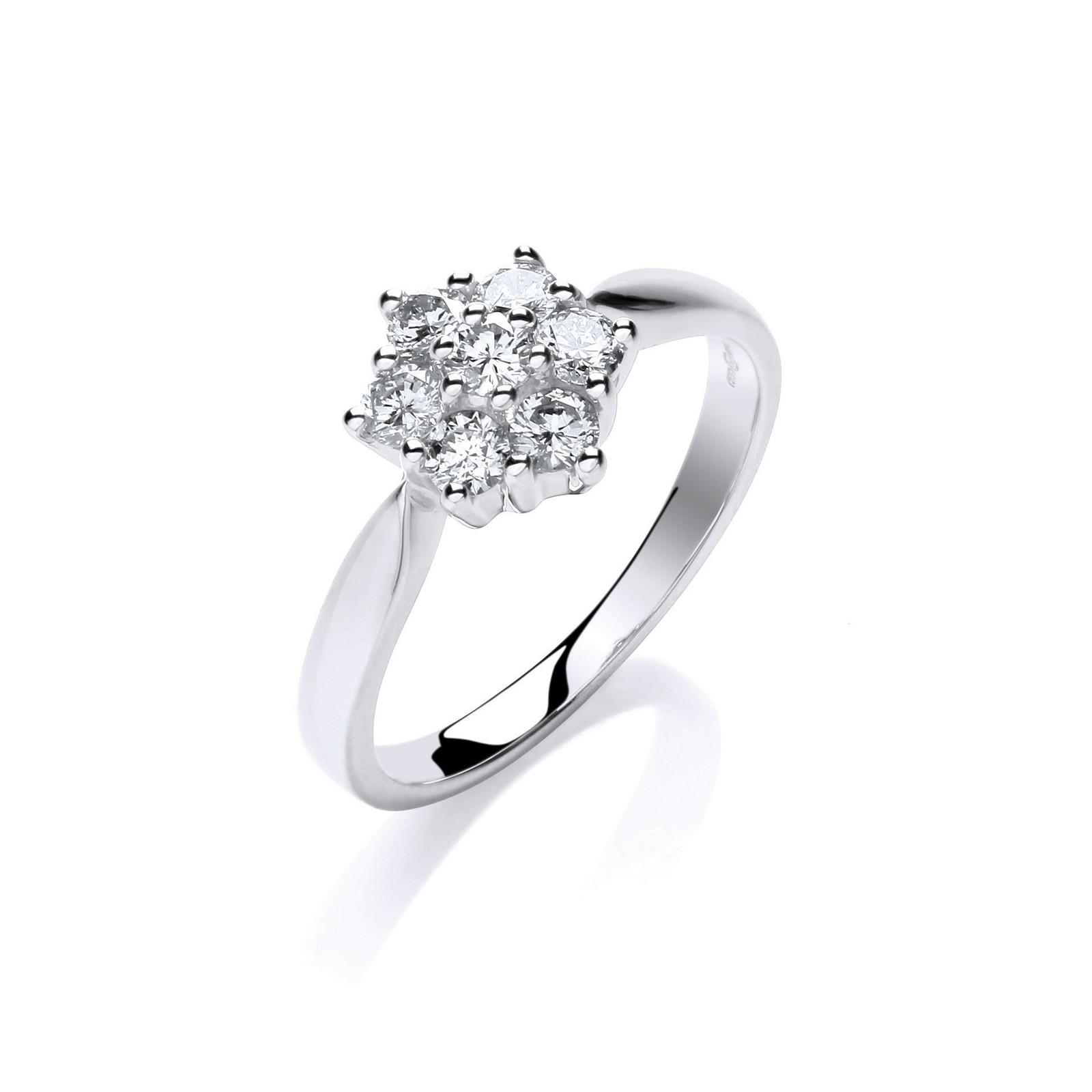 9ct W/G 0.50ctw Diamond Flower / Cluster Ring
