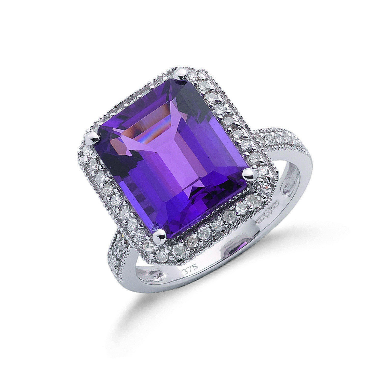 9ct W/G 0.30ct Diamond & 5.45ct Amethyst Ring