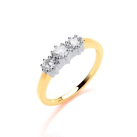 9ct Y/G 0.50ct Diamond Trilogy Ring