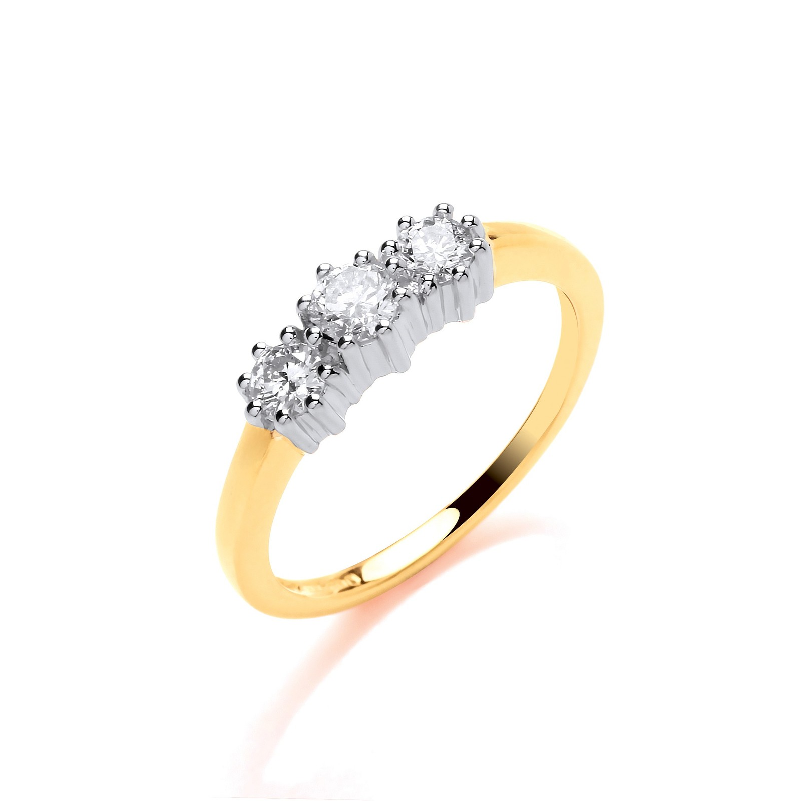 9ct Y/G 0.50ct Diamond Trilogy Ring