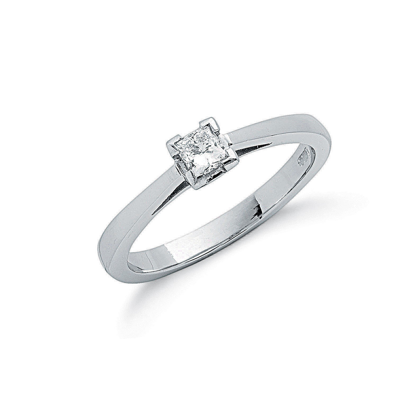 Platinum 0.25ct G/H-Si Princess Cut Diamond Engagement Ring