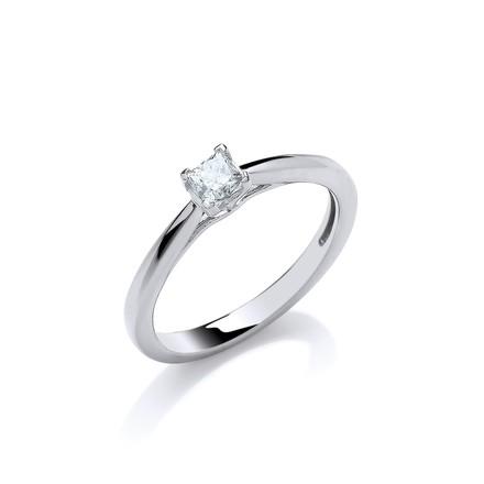 18ct White Gold 0.25ct Princess Cut Diamond Engagement Ring