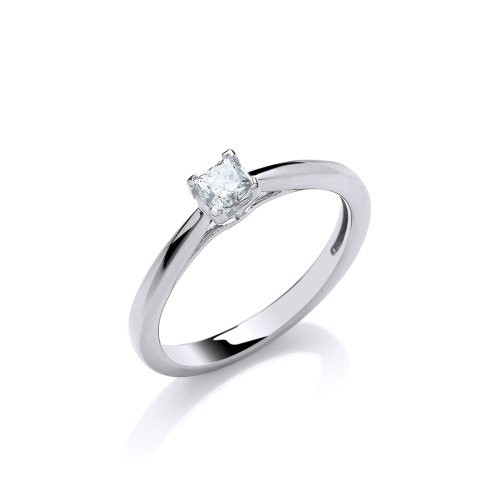 18ct White Gold 0.25ct Princess Cut Diamond Engagement Ring