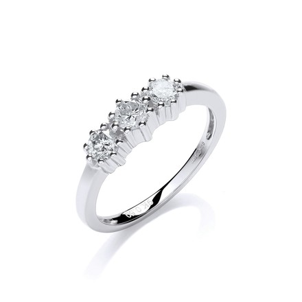 9ct W/G 0.50ct Diamond Trilogy Ring