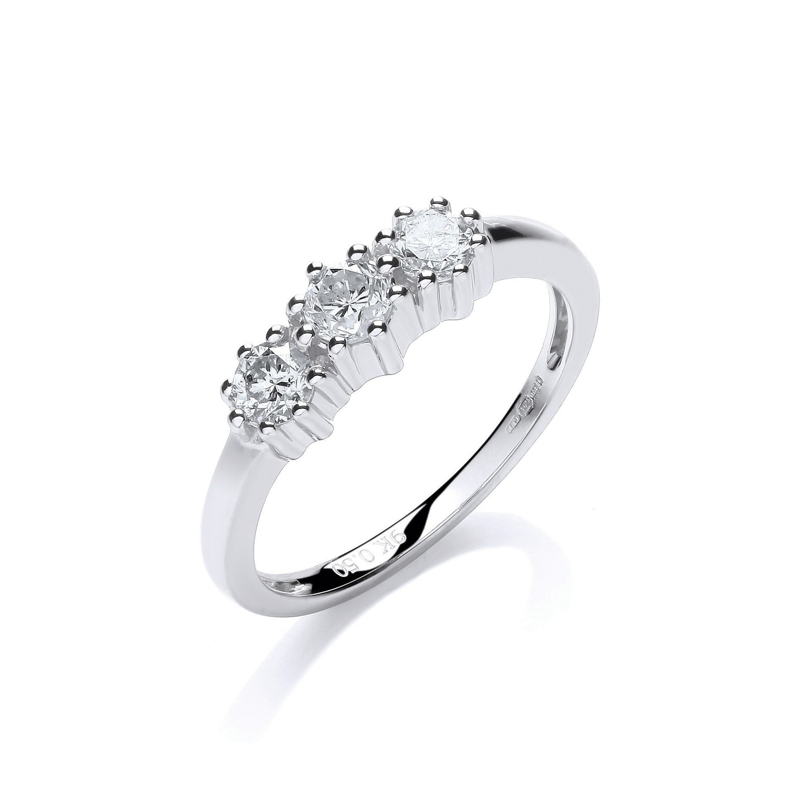 9ct W/G 0.50ct Diamond Trilogy Ring