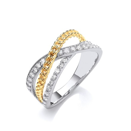 9ct White & Yellow Gold Cross Over 0.50ctw Diamond Ring