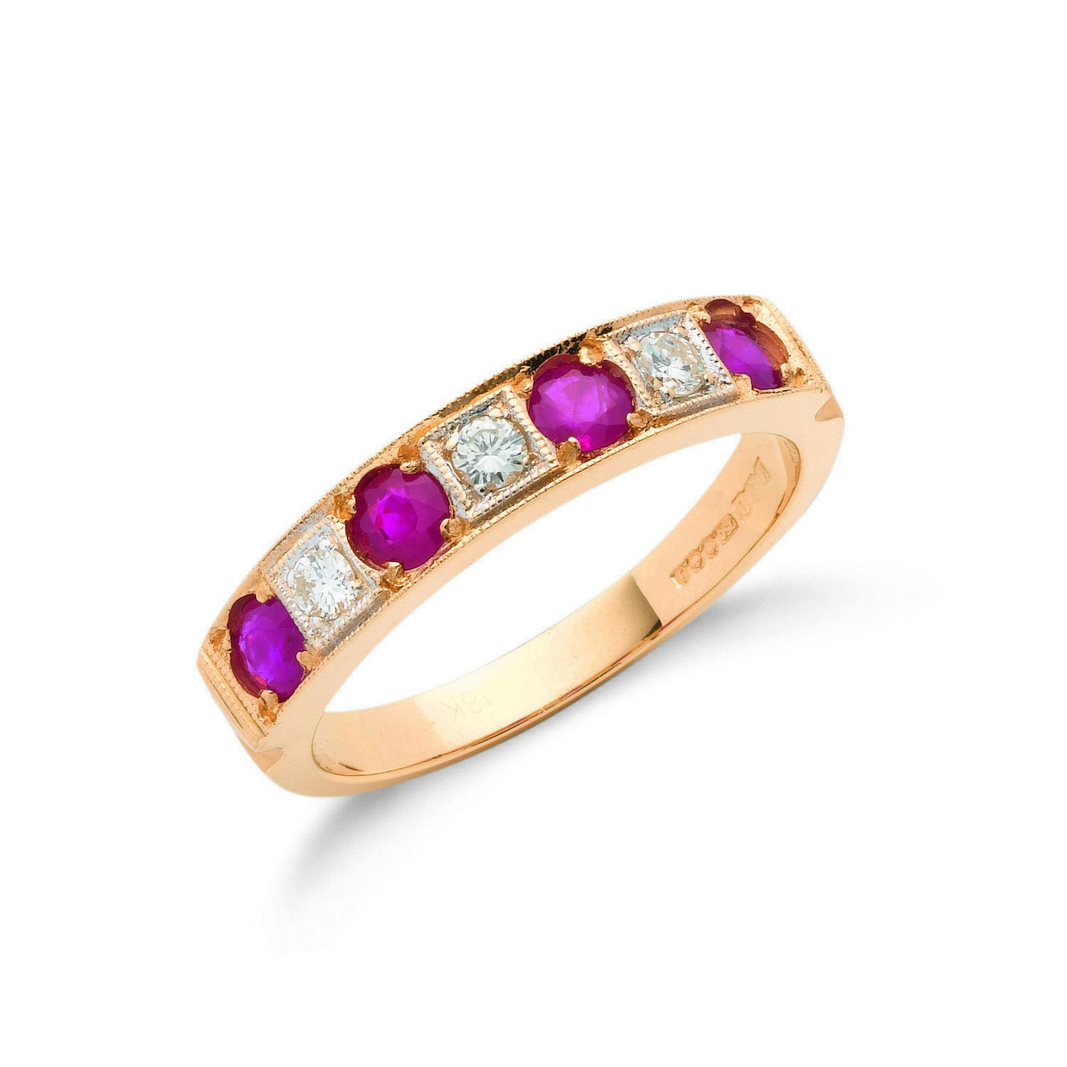 18ct Yellow Gold 0.15ct Diamond & 0.80ct Ruby Eternity Ring