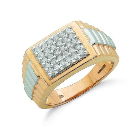 9ct Y/G 0.50ct Fancy Link Gents Diamond Ring