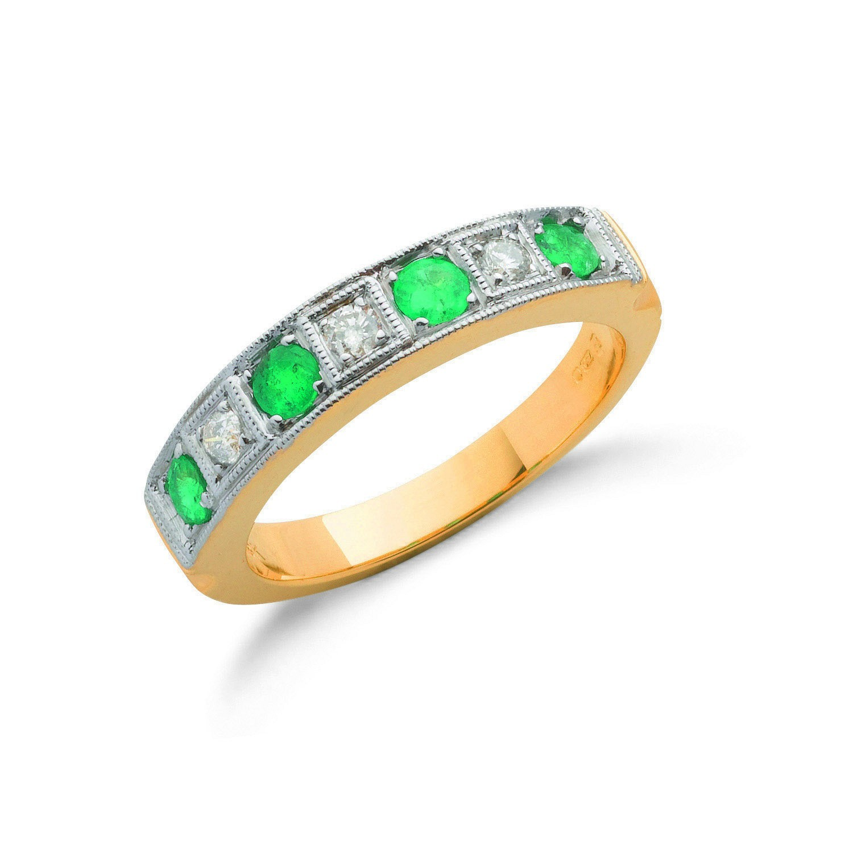 18ct Yellow Gold 0.15ct Diamond & 0.75ct Emerald Eternity Ring