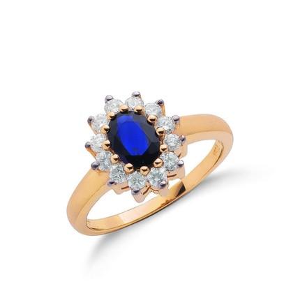 9ct Yellow Gold 0.40ct Diamond & 0.72ct Sapphire Cluster Ring