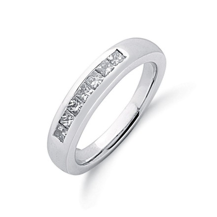 9ct W/G 0.50ct Princess Cut Diamond Eternity Ring