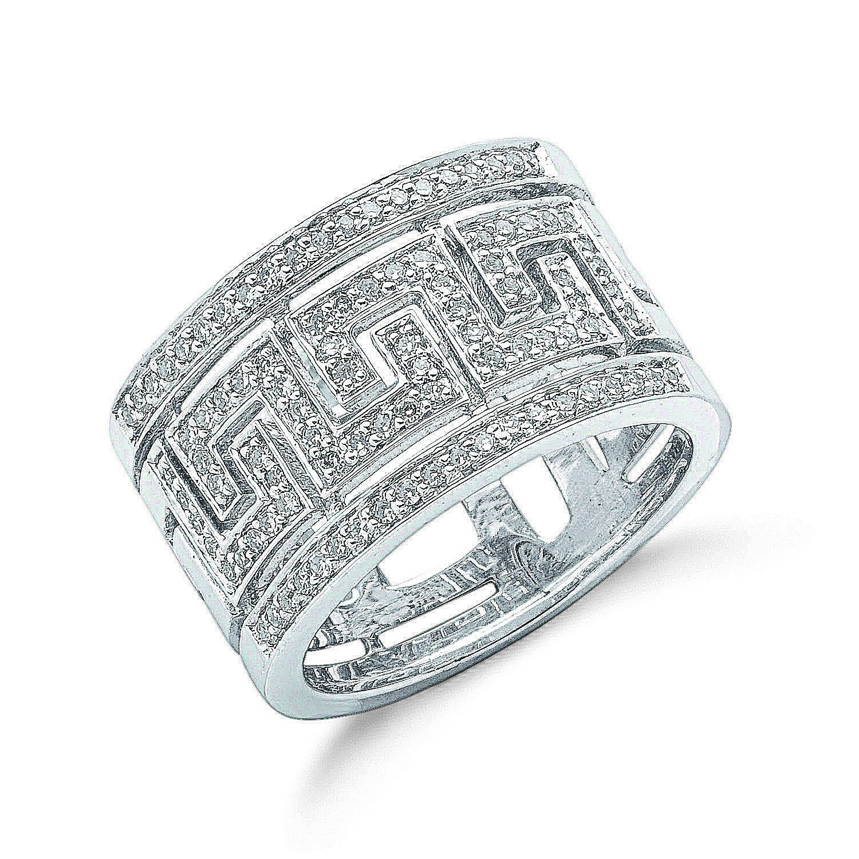 9ct W/G 0.50ct Diamond Greek Key Ring