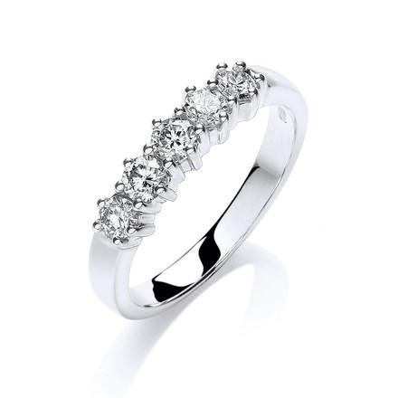 9ct W/G 0.50ct 5 Stone Diamond Eternity Ring