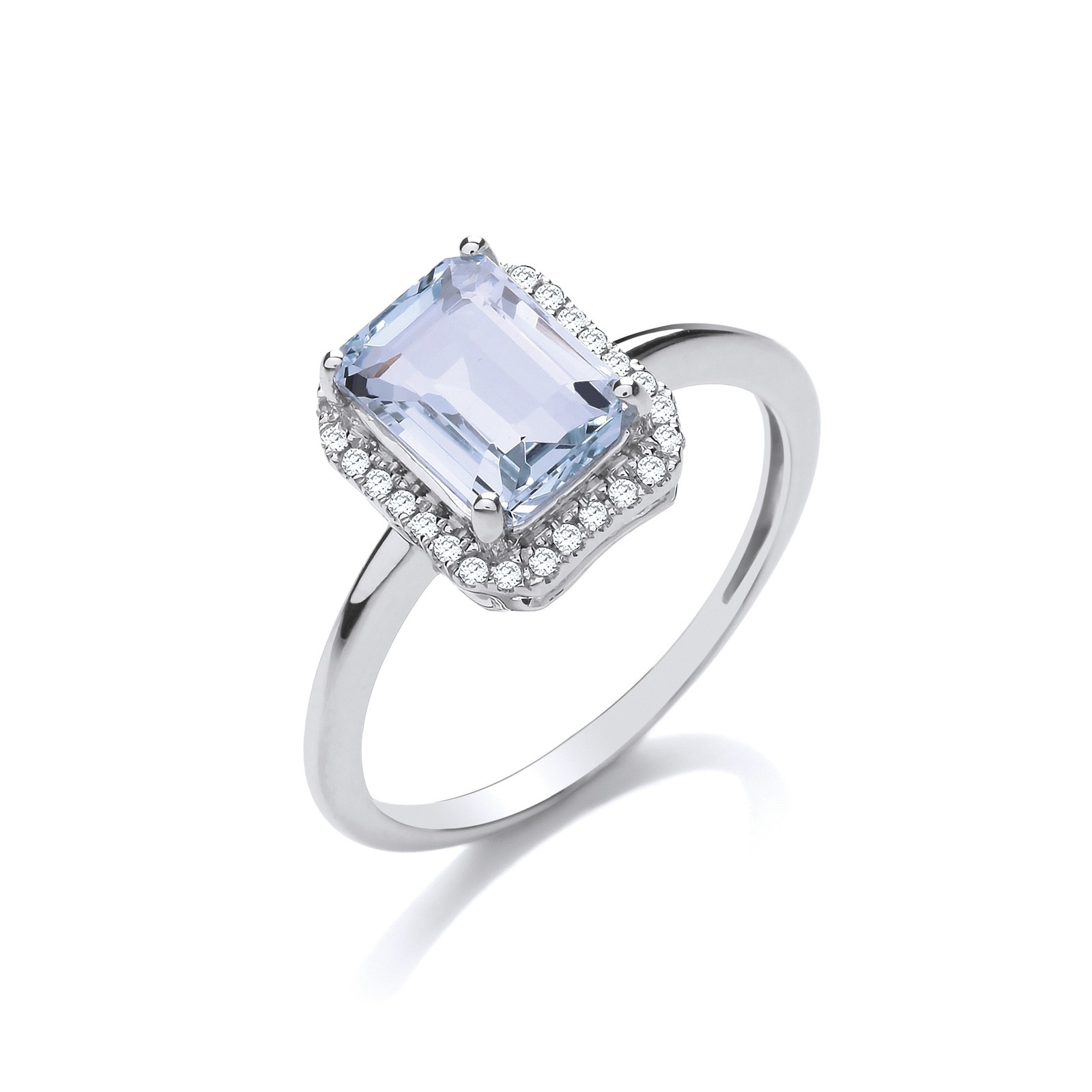 18ct White Gold 2.00ct Aqua & 0.10ct Diamond Ring