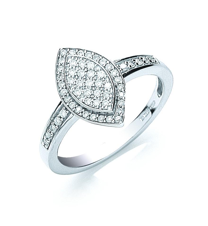 18ct White Gold Pave Set 0.25ct Diamond Ring