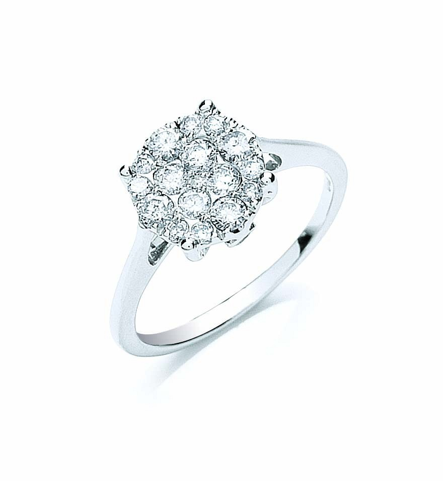 18ct White Gold 0.50ct Cluster Diamond Ring