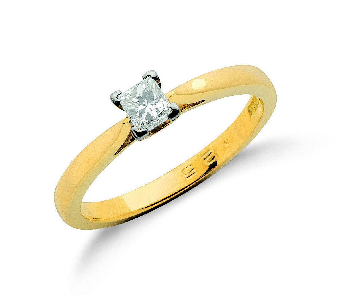 18ct Yellow Gold 0.25ct Princess Cut Diamond Engagement Ring