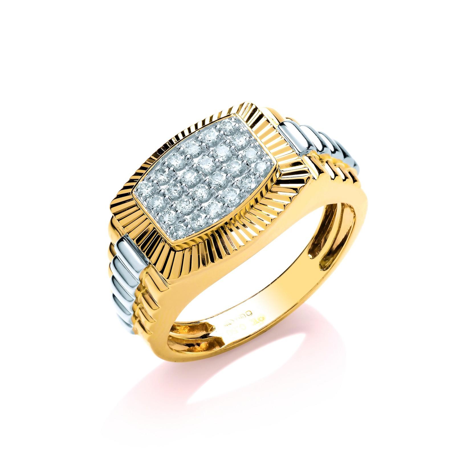 9ct Y/W Gold 0.50ct Diamond Fancy Link Ring