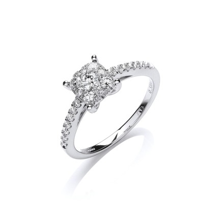 Selling: 18ct White Gold 0.50ct H-SI Dress Ring