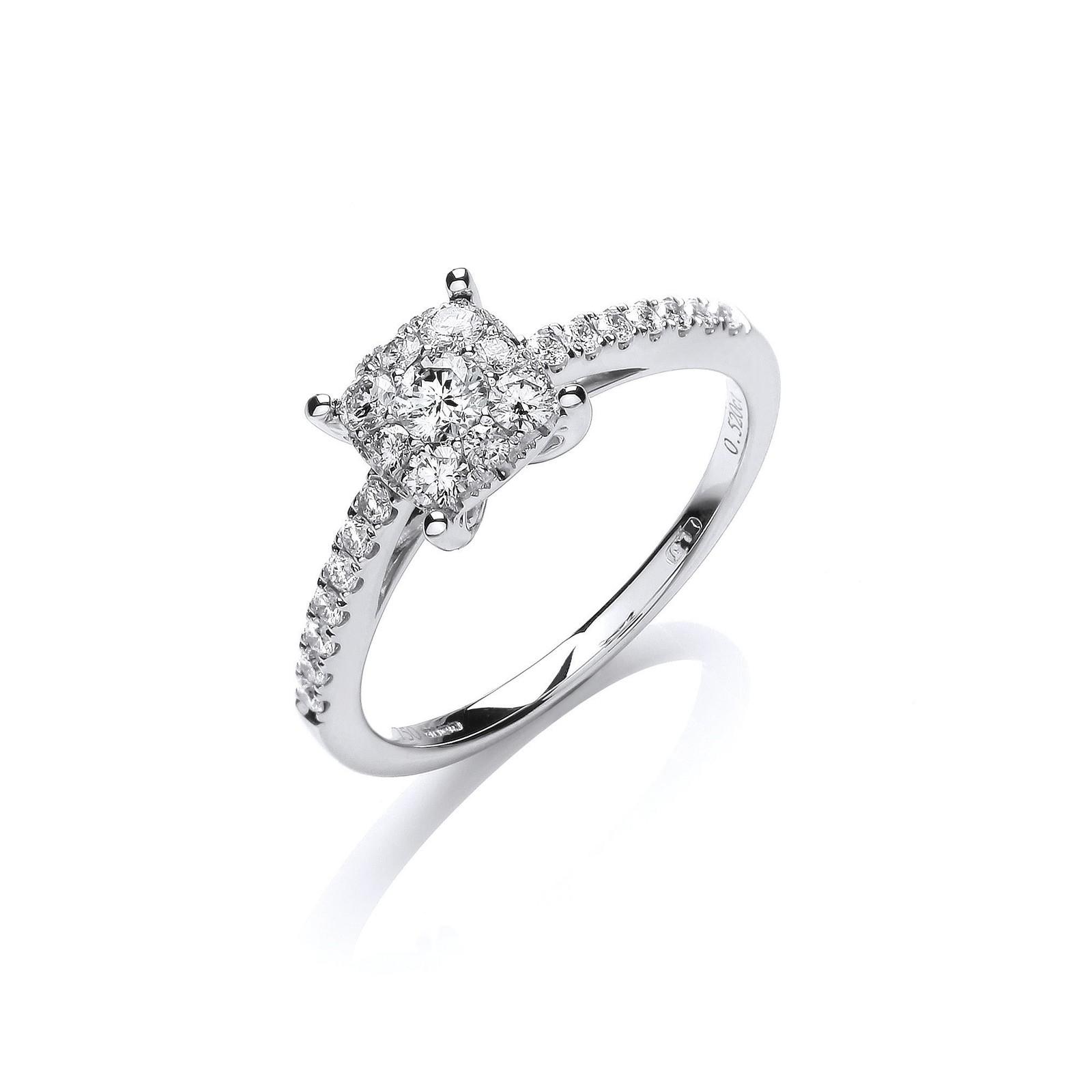 18ct White Gold 0.50ct H-SI Dress Ring