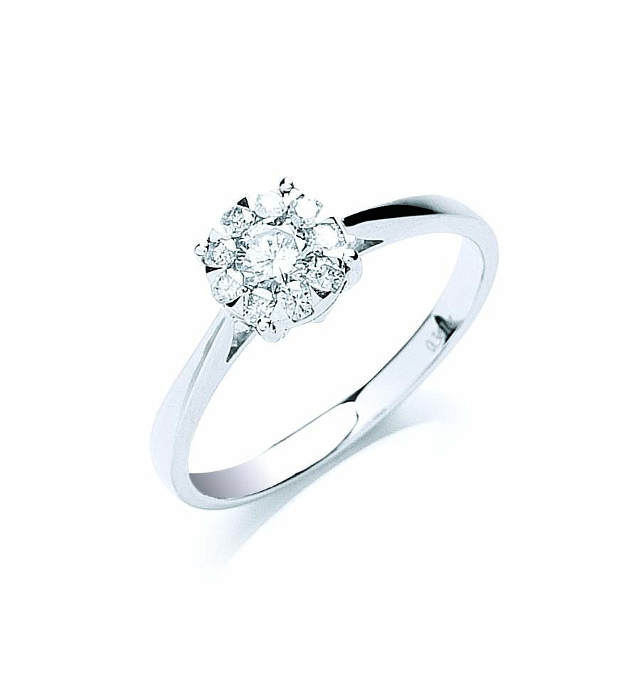 18ct White Gold 0.33ct Illusion Set Diamond Ring