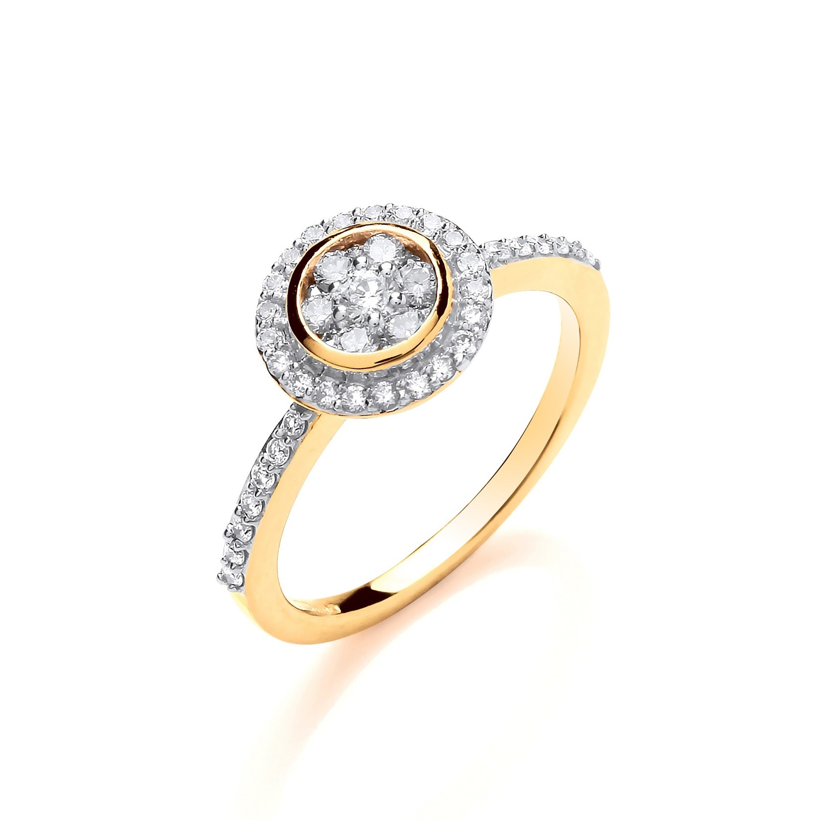 18ct YG 0.45ctw Round Top With Diamond Set Shoulders Ring