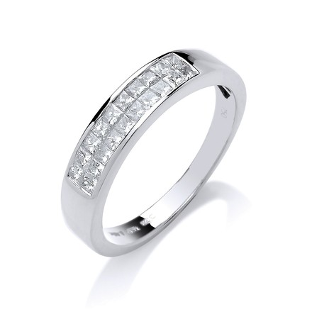 Selling: 18ct White Gold 0.50ctw Princess Cut 2 Row Diamond Eternity Ring