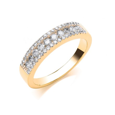 Selling: 18ct Yellow Gold 0.50ct GH-SI Diamond Half Eternity Ring