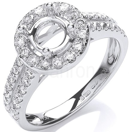 Selling: 18ct White Gold 0.60ct & (0.75ct Centre) Semi-Set Mount