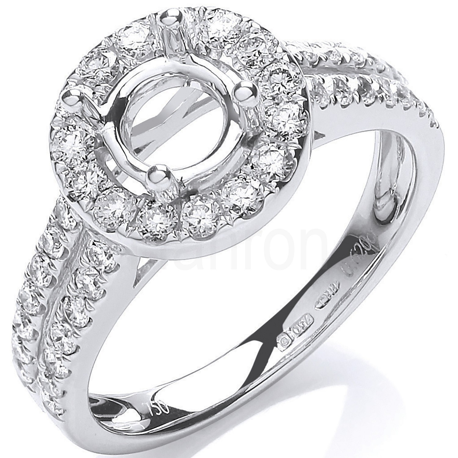 18ct White Gold 0.60ct & (0.75ct Centre) Semi-Set Mount