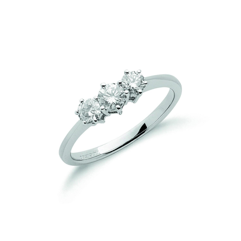 18ct White Gold 0.50ct Diamond Trilogy Ring