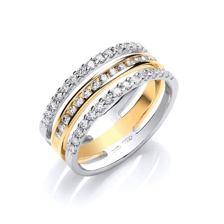 Selling: 18ct 2 Colour 3 Band 0.50ct Diamond Ring